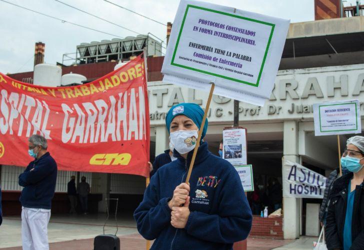 Movilización de trabajadores del Hospital Garrahan