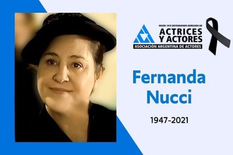 Los actores de luto: Murió Fernanda Nucci